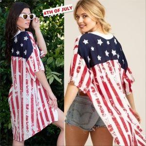AMERICAN FLAG KIMONO TOP